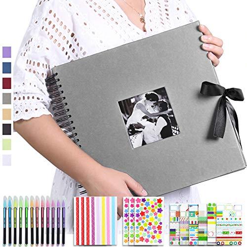 Vienrose Album Fotografico Fai da Te Spirale Scrapbooking Album 80 Pagine Nere Scrapbook Regali Nozze Natale Valentino Regalo di Anniversario Compleanno