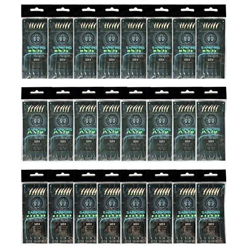 Black Anchor 24 Pack Sabiki Rigs   8 Size #4, 8 Size #6, and 8 Size #8 Bait Rigs   Green Fishing Beads High Carbon Saltwater Hooks