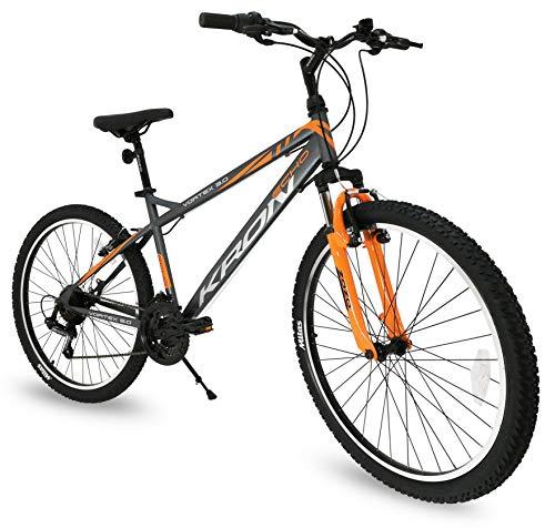 Bicicletta MTB 24'' pollici bici Kron Vortex 3.0 ammortizzata 21 Velocita' Shimano Mountain Bike REVO (Grigio - Arancione)