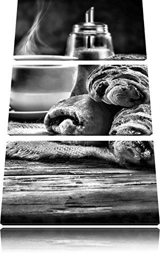 chocolade croissantFoto Canvas 3 deel | Maat: 120x80 cm | Wanddecoraties | Kunstdruk | Volledig gemonteerd