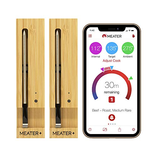 MEATER+ 2 Einheiten Bundle - Sparen Sie 20€ | 50m Reichweite Version des komplett kabellosen Fleischthermometers für Ofen Grill Küche BBQ Smoker Rotisserie mit Bluetooth und WiFi mit Digitalverbindung