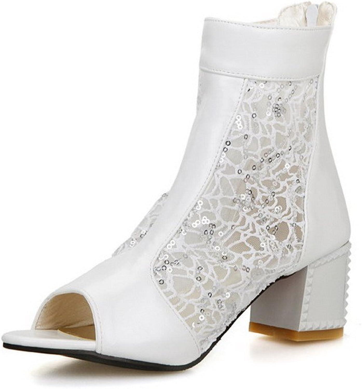 WeenFashion Women's Solid Pu Kitten Heels Open Toe Zipper Sandals