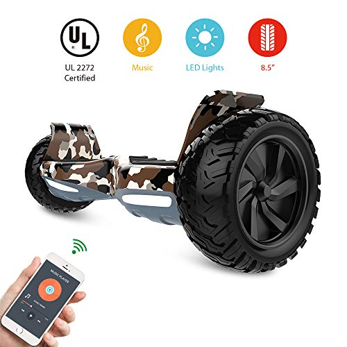 HYPER GOGO Off Road, Electric Self Balancing All Terrain Hoverboard with Built-in Speaker and LED Lights, UL2272 Certified, 8.5 Inch, Camouflage