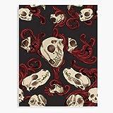 Animals Tattoo Skull Skulls Filigree Gothic Realism Semi Animal Canvas Wall Art Printed Modern to Decoration for Living Room, Bedroom, Kitchen, Office, Hotel, Dining Room, Office, Bathroom, Bar Etc