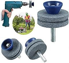 YESBAY Lawn Mower Blade Sharpener, 3Pcs Double-Layer Corundum Lawn Mower Blade Sharpener for Power Hand Drill Tool Grey