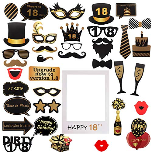 Amycute Photocall 18 cumpleaños Foto Props y Marco de Photo, adornos fiesta cumpleaños 18 Photo Booth Props para Fiesta Cumpleaños de 18 Años