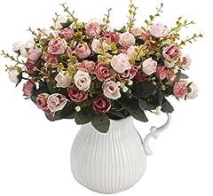 Idea Regalo - Peoxio mazzo di rose artificiali, costituito da 7 rami e 21 rose, realizzato in seta. Bouquet decorativo, ideale per case, feste, matrimoni. La confezione contiene 2 mazzi Pink Coffee