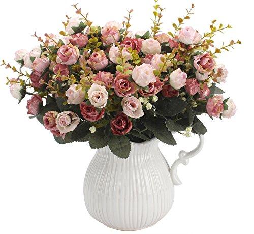 Amkun, mazzo di rose artificiali, costituito da 7 rami e 21 rose, realizzato in seta. Bouquet decorativo, ideale per case, feste, matrimoni. La confezione contiene 2 mazzi Pink Coffee