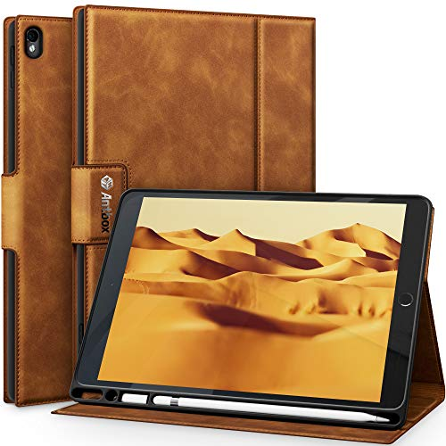"""Antbox iPad Air (3rd Gen) 10.5"""" 2019 / iPad Pro 10.5"""" 2017 Case with Built-in Apple Pencil Holder Auto Sleep/Wake Function PU Leather Smart Cover for iPad 10.5 Inch (Brown)"""