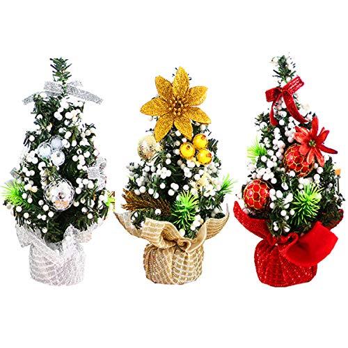 XONOR Mini Albero di Natale Artificiale in 3 Pezzi con Ornamenti: Perfetta Decorazione Natalizia per Tavolo, scrivania e casa o Ufficio