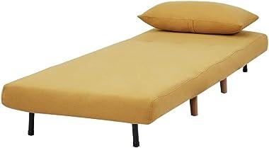 GIA Tri-Fold Sofa Bed, With Pillow, Yellow