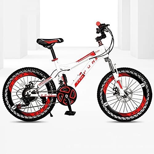 DSENIW Bicicleta De Montaña para Niños, 22 Pulgadas, 21 Velocidades, Estructura De Acero con Alto Contenido De Carbono, Fácil Montaje. Sistema De Frenos Seguro para Niños. Rojo Verde Naranja,Rojo