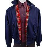 Warrior Harrington Vintage Jacke Mantel Mod Tartan Karomuster Wein - Marine, Large