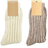 krautwear 2 Paar Weiche Wollsocken mit Alpaka für Damen und Herren Warme Socken Wintersocken bis Größe 50 (weiss+braun-35-38)