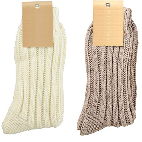 krautwear 2 Paar Weiche Wollsocken mit Alpaka für Damen & Herren Warme Socken Wintersocken bis Größe 50 (weiss+braun-35-38)