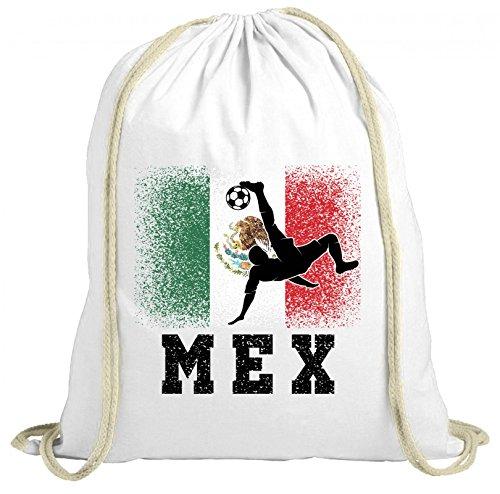 ShirtStreet Mexiko Fußball WM Fanfest Gruppen Fan natur Turnbeutel Rucksack Gymsac Mexico Football Player, Größe: onesize,weiß natur