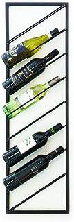 LIFA LIVING Modern Wijnrek, Zwarte Wijnflessenhouder, Metalen Wijnhouder, Rechthoekige Muur Wijnflessenhouder, Hangende Fl...