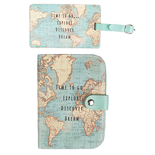 Sass & Belle Vintage World Map - Funda pasaporte Multicolor