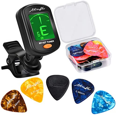 MOREYES 28Pcs Picks Guitar Tuner Clip on Chromatic Digital Tuner for Acoustic Guitars Violin product image
