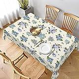 Mantel Rectangular,Pensamientos Azules campanillas Plumbago y no me Olvides Flores, Manteles Lavable Reutilizable de Mantel para jardín Habitaciones decoración de Mesa 152 x 228cm