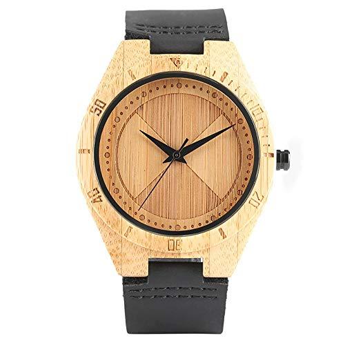 YJRIC Reloj de Madera Brazalete de bambú Reloj de Pulsera Correa de Cuero Correa NaturalezaMujeresHombresCalientesCuarzoModerno analógico Hecho a Mano