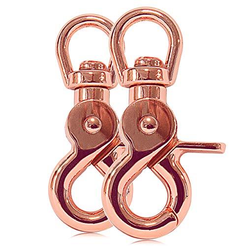 Ganzoo Scheren-Karabiner Haken mit Dreh-Gelenk/Dreh-Kopf für Hunde-Leine/Hals-Band 2er Set, legierter Stahl 61 mm Länge, auch für Paracord 550 / Schlüssel-Anhänger, Farbe: roségold