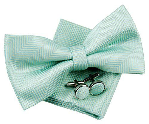Retreez Herren Gewebte vorgebundene Fliege Fischgrätmuster Gestreifte 13 cm und Einstecktuch und Manschettenknöpfe im Set, Geschenkset, Weihnachtsgeschenke - mintgrün