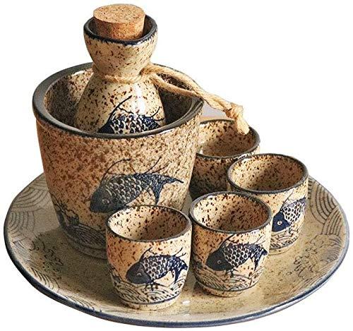Sake Set Juego de sake de cerámica japonesa, juego de 7 piezas, juego de calentador de vino de sake retro japonés, olla de shochu de vino caliente, copa de vino de cerámica, copa de vino, estilo an