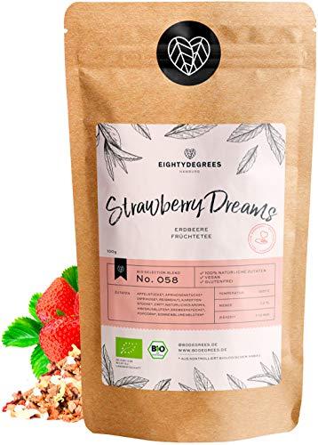 Strawberry Dreams Früchtetee BIO 100g - fruchtiger Erdbeere-Tee für Kinder - Erdbeere & Apfel - besonders magenmild + säurearm, ohne Koffein - 100% biologischer Anbau - ohne Zuckerzusatz | 80DEGREES