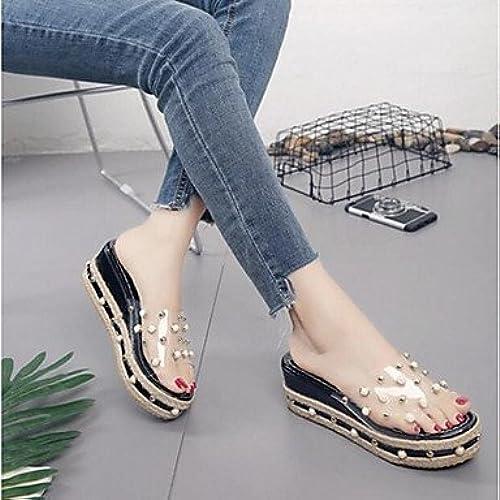 RUGAI-UE Mode d'été Occasionnels Chaussures Femmes Sandales Talons PU Confort,Bleu,US3.5   EU33   UK1.5   CN32