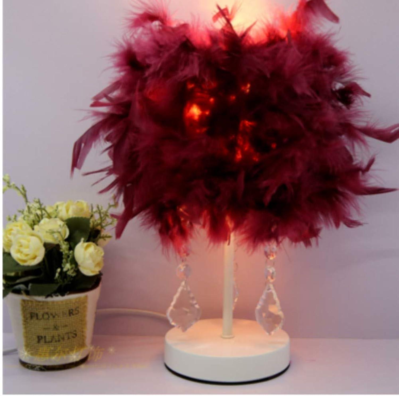 Tischlampe Europischen Kristall Tischlampe Feder Tischlampe Nachtlicht Nachttischlampe Hochzeit Dekor Dekor Dekoration Lichter Innenbeleuchtung, Druckschalter