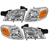 Aftermarket Replacement 4 Pc Set Headlights with Signal Side Marker Lamps Compatible with ...