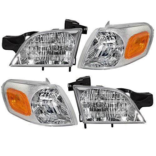 Aftermarket Replacement 4 Pc Set Headlights with Signal Side Marker Lamps Compatible with 1997-2005 Venture