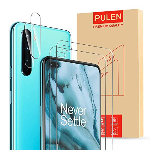 (4 in1) PULEN for OnePlus Nord Screen Protector 2 Packs with 2 Packs Camera Lens Protector, HD Clear Scratch Resistant Bubble Free Anti-Fingerprints 9H Hardness Tempered Glass