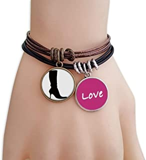 Simple Pattern Black High Boots Silhouette Love Bracelet Leather Rope Wristband Couple Set