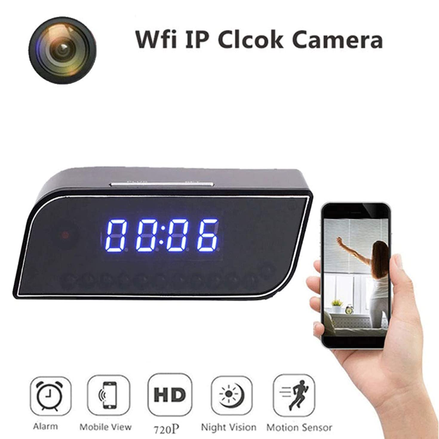 HUAXING Mini Clock Cameras,1080P HD Small Portable Wireless Home Security Surveillance Camera,Covert Tiny Nanny Cam with Night Vision and Motion Detection,With32GBTFCard