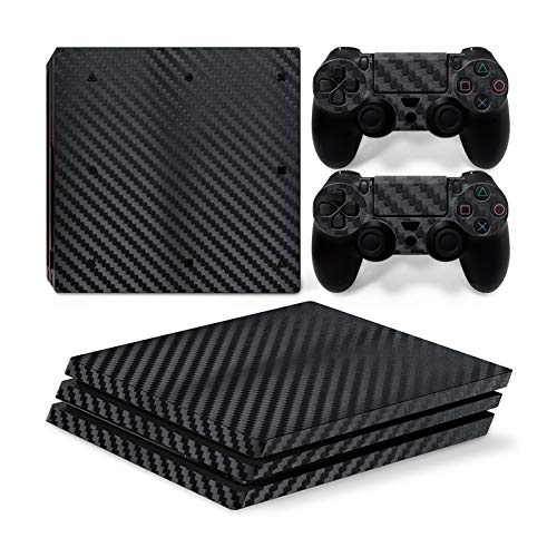 Mcbazel Pattern Series Vinyl Skin Sticker For PS4 Pro Controller & Console Protect Cover Decal Skin (Black Carbon Fiber)