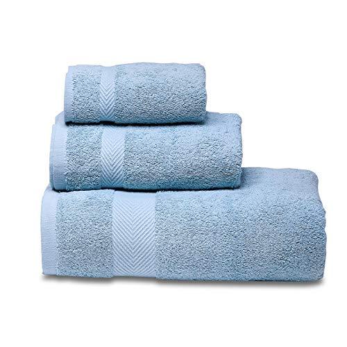 SFBBBO Toallas de baño Juego de Toallas Suaves 100% Algodón, Toalla de Baño, Toalla de Mano, Toallita, Altamente Absorbente, Calidad Hotelera.3towelsset Azul