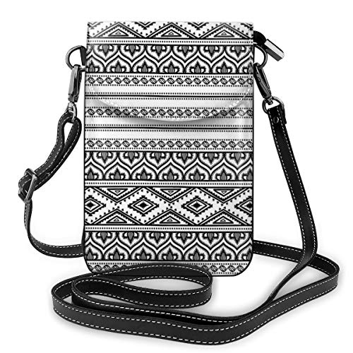 Women Small Cell Phone Purse Crossbody,Oriental Tribal Moroccan Round Style Lines Dots Geometric Shapes Artwork