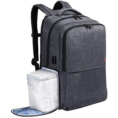 SLOTRA Zaino per Laptop da 17 Pollici con Porta Pranzo Zaino per Computer da Viaggio con Porta USB Borsa da Viaggio per Lavoro di Grande capacità, Grigio Scuro