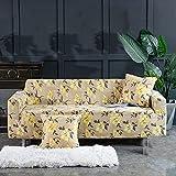 Funda de sofá elástica con Todo Incluido 1/2/3/4 plazas Estampado Floral Amarillo con Estampado de Flores Funda Deslizante para sofá Lavable, Antiarrugas extraíble, 2, Asiento 145,185cm