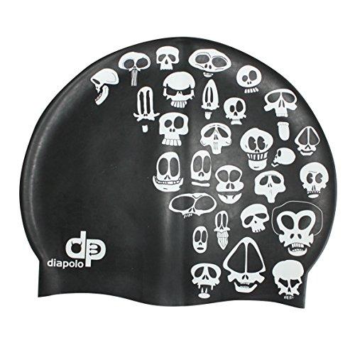 Diapolo Professionale Schwimmkappe Small Skulls Silikon Badekappe Bademütze Schwimmmütze für Damen und Herren und Mädchen und Jungen