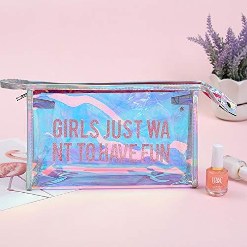 PoplarSun Lettre UOSC Laser Cosmétique Sac Portable Transparent Simple Make Up Sac Voyage Poche cosmétique Clair Maquillage Pouch Organisateur (Color : Pink Letter)
