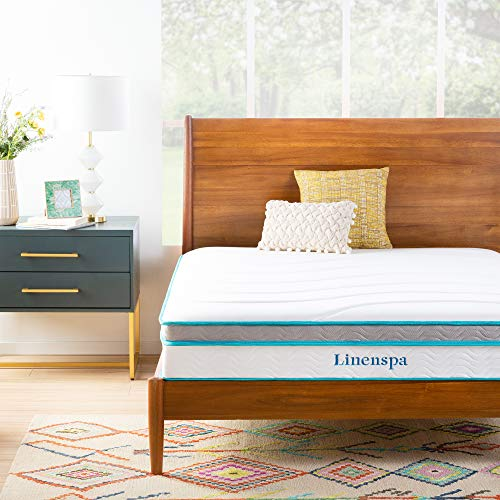 Linenspa 10 Inch Memory Foam and Innerspring Hybrid Medium Feel-Twin Mattress, White