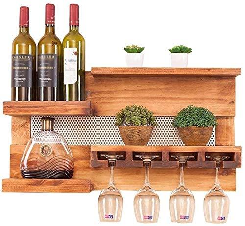 Estante de la botella de cristal con el colgante de copa de soporte de estante - - Wall botellero cocina decorativo para el hogar,Wood color