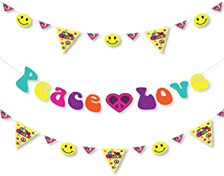 Big Dot of Happiness 60`s Hippie - 1960s Groovy Party Letter Banner Decoration - 36 Banner Cutouts and Peace Love Banner Letters