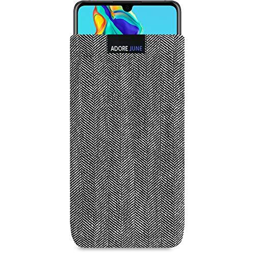 Adore June Business Tasche für Huawei P30 Handytasche aus charakteristischem Fischgrat Stoff - Grau/Schwarz | Schutztasche Zubehör mit Bildschirm Reinigungs-Effekt | Made in Europe