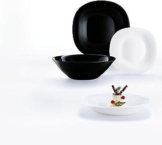 comprar comparacion Luminarc Carine Moderne - Vajillas combinadas, Vidrio sodo, Blanco y Negro, 19 Piezas