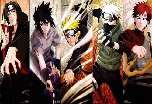 Sin marco Clásico Naruto Sasuke Anime Dragon Ball Z Dibujos animados Imagen cómica Decoración de la habitación de los niños Carteles de la sala de estar Arte de la pared Pintura de la lona 30 * 50cm H