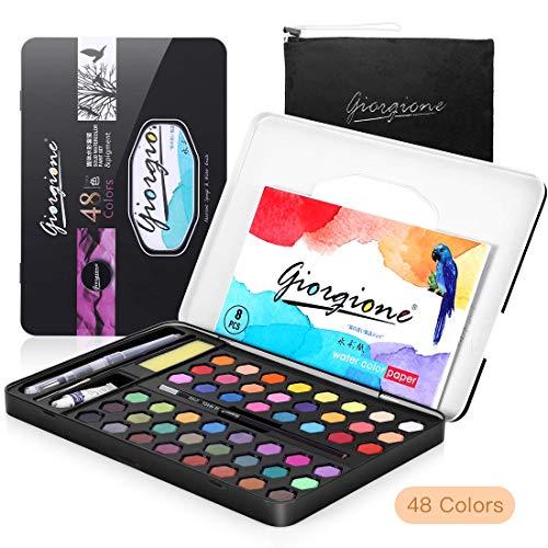 48 Color Kit de Pintura de Acuarela, AGPTEK Set Acuarelas Profesional para Artistas Principiantes, Aficionados, Estudiantes y Niños